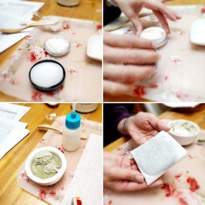 養成講座、クレイパウダーとクレイ湿布の実習